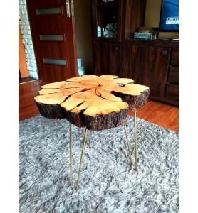 Stolik kawowy  plaster drewna  w żywicy