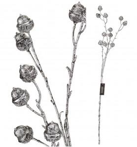 Roślina sztuczna - gałąź żołędzi srebrna Aluro